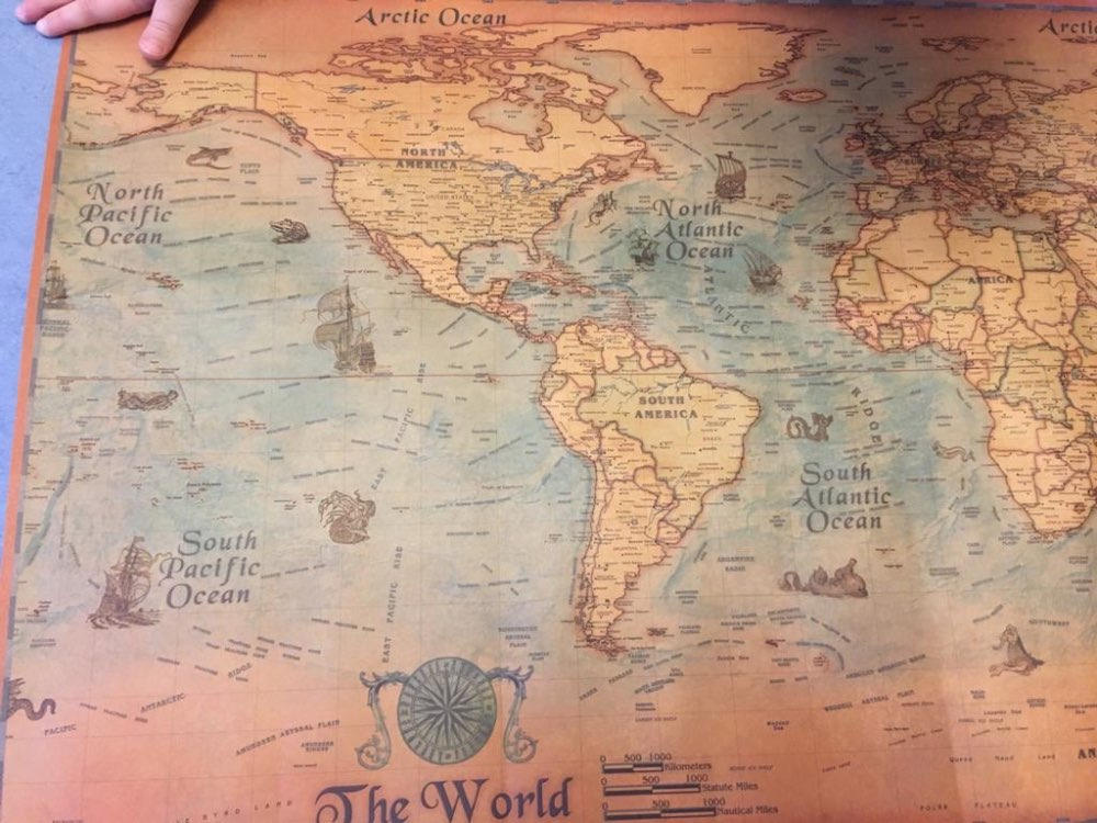 Vintage Nautical World Map Poster photo review
