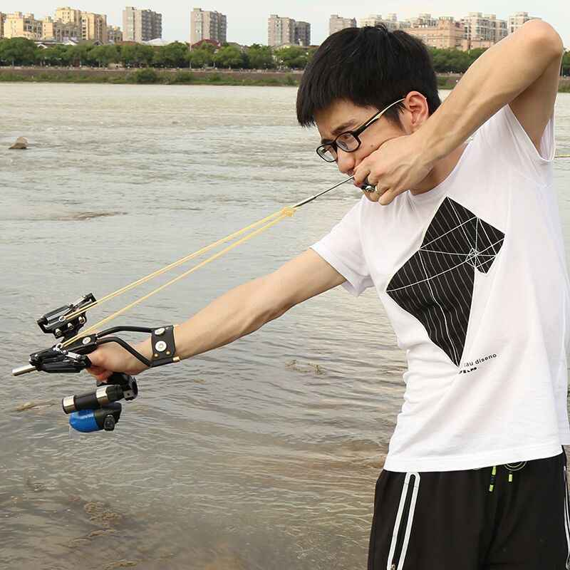 Lance-pierre de pêche précise, fronde avec repose-flèches, Laser rouge, Pointe, bobine de pêche, ensemble d'accessoires de pêche