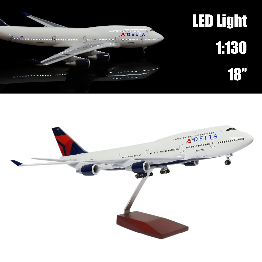 Mini 44 CM 1:130 Airplane Model Delta 747 with LED Light(Touch or Sound Control) Plane for Decoration or Gift cybernetics or control