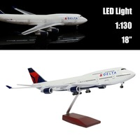 Mini 44 CM 1:130 Airplane Model Delta 747 with LED Light(Touch or Sound Control) Plane for Decoration or Gift