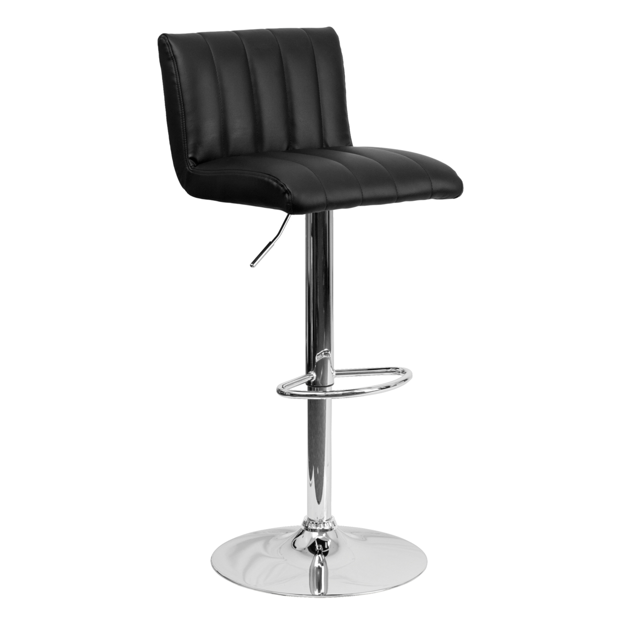 Flash Furniture Contemporary Black Vinyl Adjustable Height Bar Stool with Chrome Base [863-CH-112010-BK-GG] dhl ems 1pc 1 1p 20 psen1 1 20 8mm