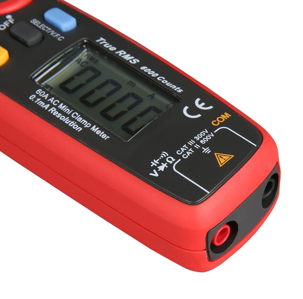 UNI T UT211B AC/DC 60A Mini Digital Clamp Meters; True RMS Ammeter, V.F.C./NCV/ Resistance/Capacitance Test, LCD Backlight - 6
