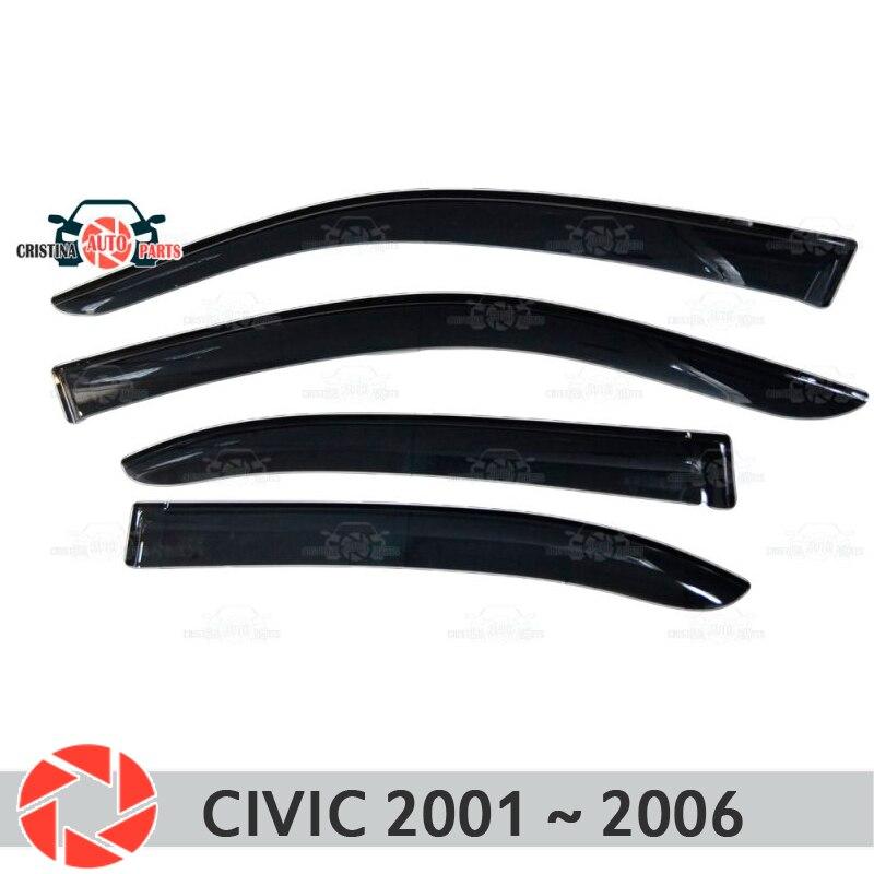 Deflector janela para Honda Civic 2001 ~ 2006 chuva defletor sujeira proteção styling acessórios de decoração do carro de moldagem