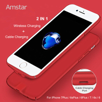 Amstar Qi Wireless Charging Receiver Black Cover Qi Receiver 2in1 Wireless Charger Receiver Case for iPhone 7 7Plus 6 6s Plus