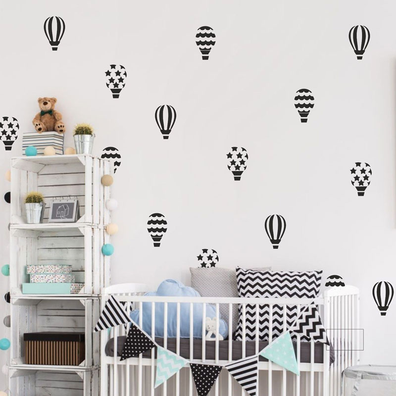 30stk / sæt Varmluftsballoner Vægmalerier Nursery Baby Room Væg Vinyl Art Decor Home Decoration N817