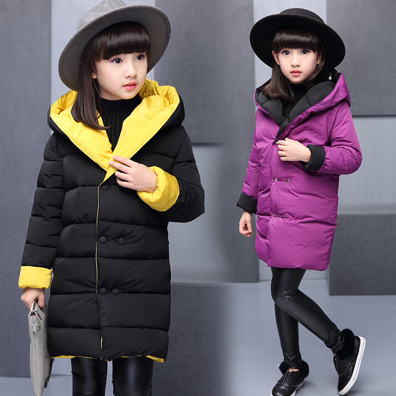 2017 Child Reversible Warm Cotton Quilting Jacket Winter Coat Girl Clothing Baby Shirt Thick Cotton Quilted Jacket 3-14 Y 7