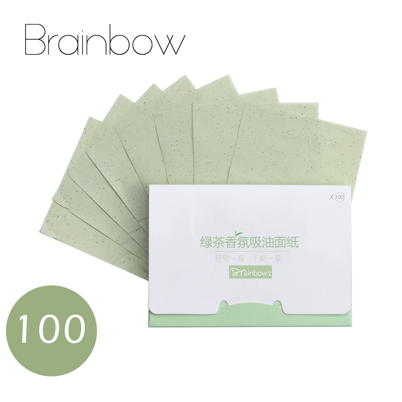 Brainbow 100pcs/pack Portable Facial Absorbent Paper Oil Control Wipes Absorbing Sheet Matcha Oily Face Blotting Matting Tissue