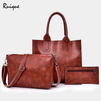 Ruique Women New Fashion 3pcs Set Handbags Ladies High PU Leather Casual Tote Bag Mom's Designer Composite Messenger Bag Purse