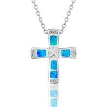 лучшая цена S 925 sterling silver blue  fire opal zircon  cross necklace pendant  fashion silver jewelry