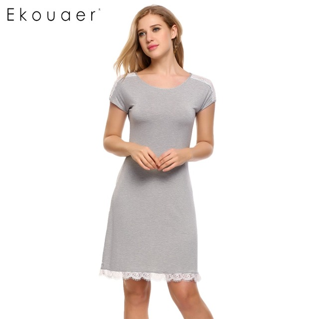 Ekouaer Lace Patchwork Nightgown Women Fashion O Neck Cap Short Sleeve Sleepwear Sexy Hollow Out Home Dress Casual Nightdress