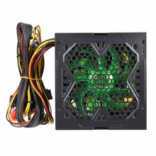 ATX Computer PC Power Supply for Gaming Green LED 600W 120mm Fan Quiet 20/24pin ATX 12V 4/8-pin PC Power Supply PSU For Mining