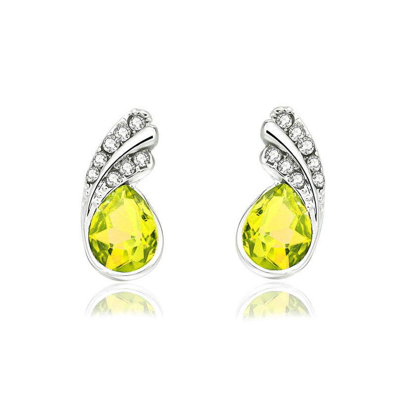 Crystal leaf stud Earrings 2