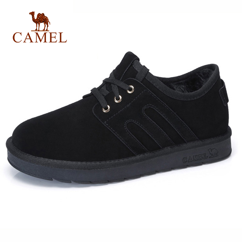CAMEL Winter New Casual Snow Boots Men With Warm Fur Lacing Man Short Ankle Boots Men