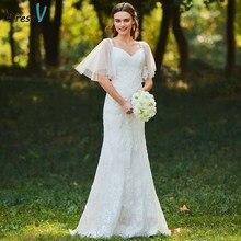 Dressv avorio della sirena del merletto abito da sposa sweetheart neck maniche corte di lunghezza del pavimento da sposa outdoor & chiesa abiti da sposa