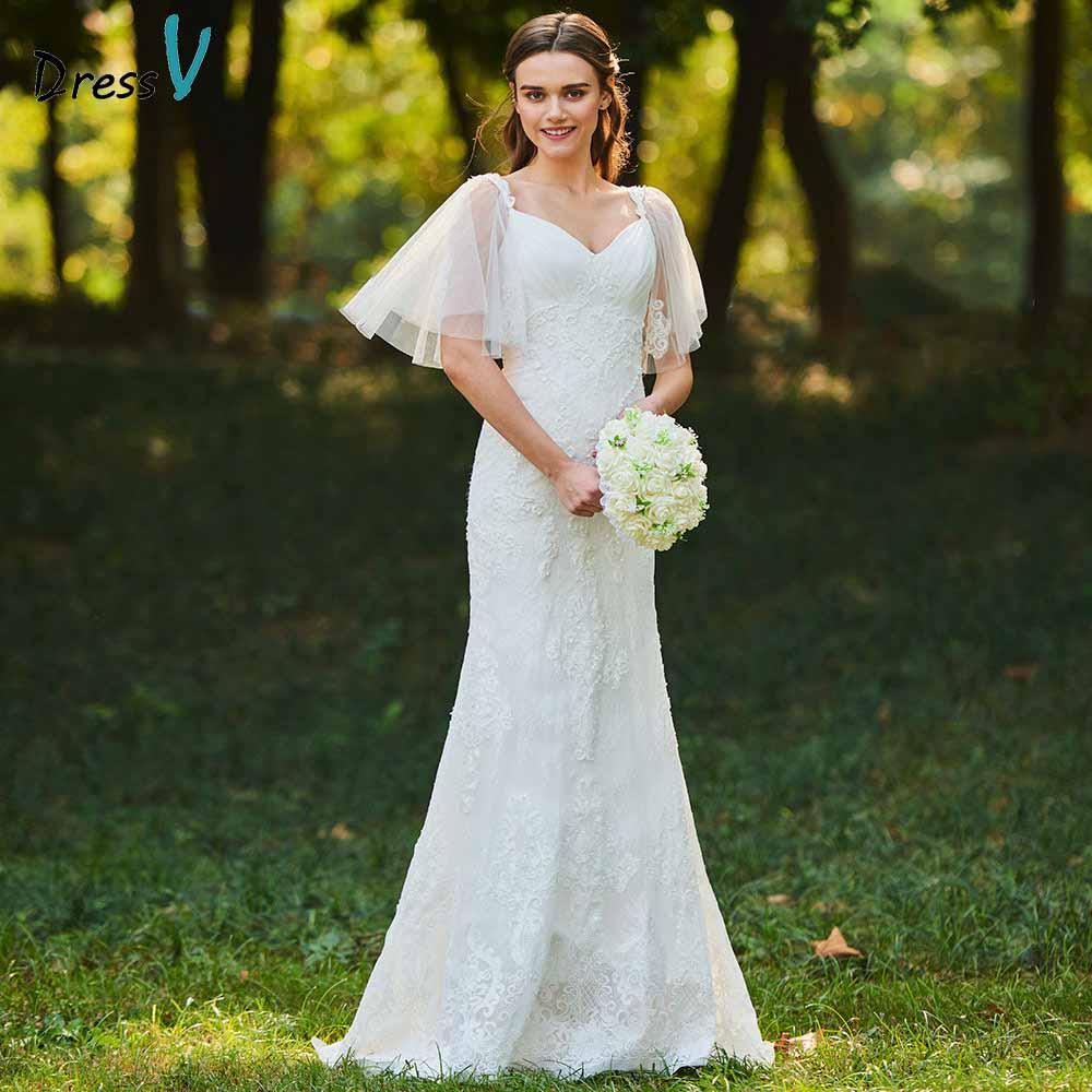 Dressv ivory mermaid lace wedding dress sweetheart neck short sleeves floor length bridal outdoor&church wedding dresses