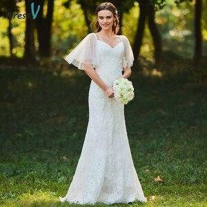 Image 1 - Dressv marfim mermaid lace vestido de noiva pescoço namorada mangas curtas até o chão de noiva ao ar livre & igreja vestidos de casamento