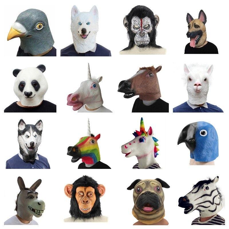 Máscara de animales de goma de Paloma de Alpaca de unicornio de caballo Creepy máscara de látex para fiesta de animales Panda máscara de disfraces de Halloween para niños divertida