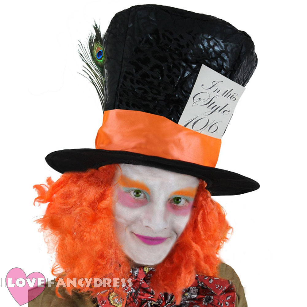 MAD HATTER TOP HAT ALICE ADVENTURES WONDERLAND TEA PARTY ORANGE WIG HAIR FANCY DRESS COSTUME ACCESSORY SCHOOL BOOK WEEK Cosplay