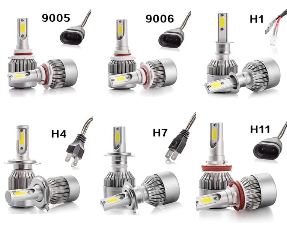 H7 H11 H1 H3 9005 9006 COB Car LED Headlight Bulbs H4 Hi-Lo Beam 72W 8000LM 6500K Auto Headlamp Led Car Light 12V