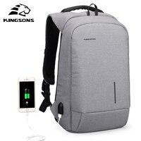 Kingsons USB Charge Laptop Backpack 15 6 Men Travel Backpack Large Capacity Casual Waterproof Bag Women