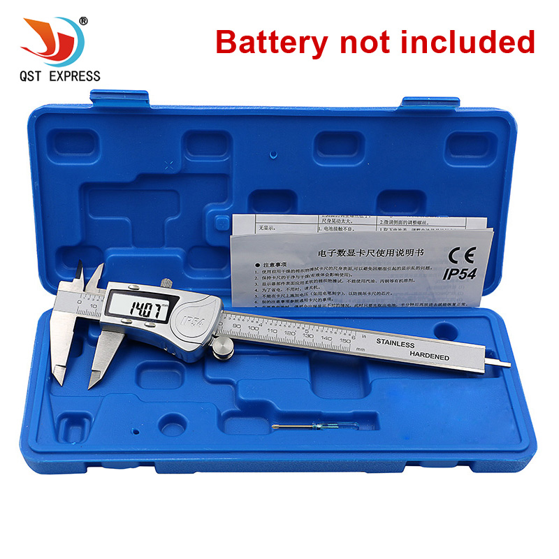 QSTEXPRESS Industrial IP54 Digital Caliper 0 150mm 0.01 Stainless Steel Electronic Vernier Calipers Metric Inch Measuring Tools