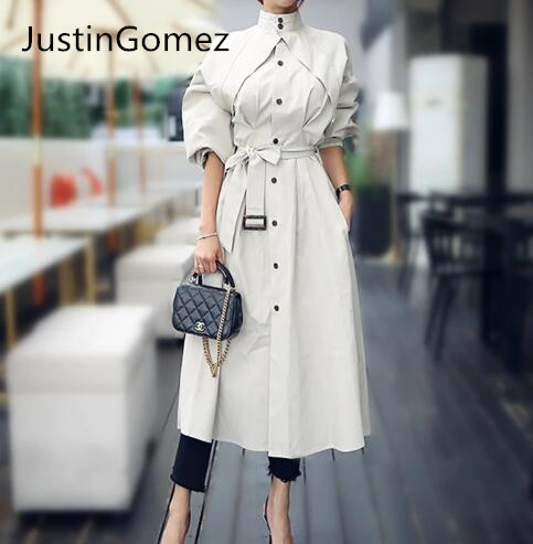 Streetwear 2019 Runway Fashion Women   Trench   coats With belts Outwear Elegant office Lady overcoats
