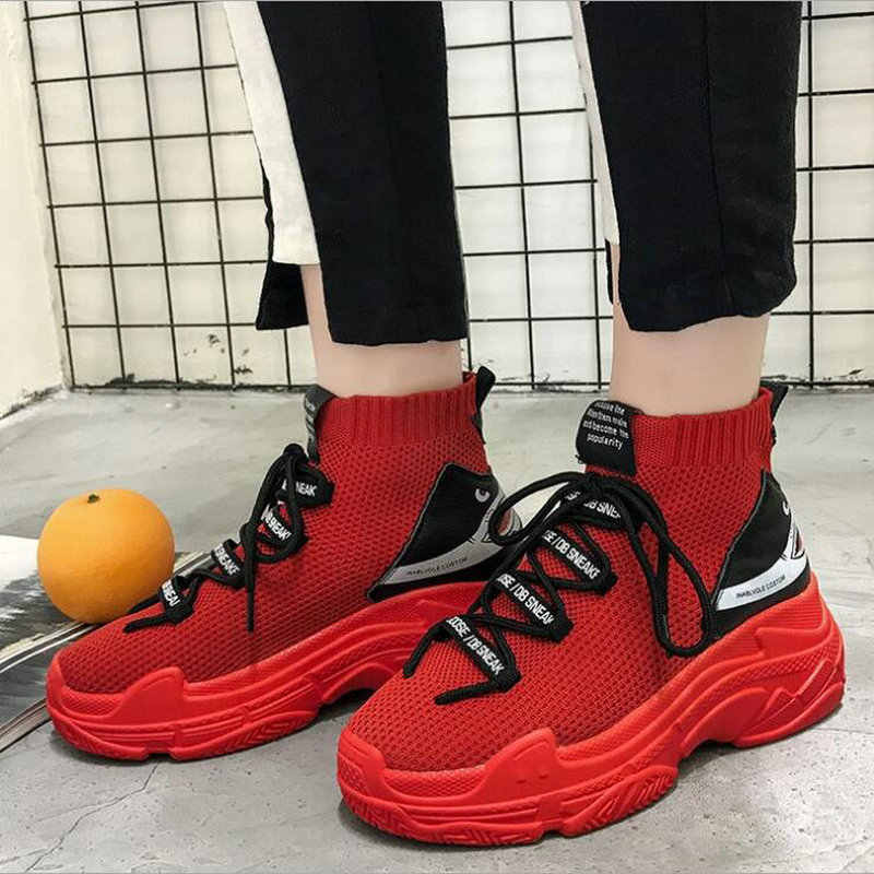 a6f178ddf1e83 New High top Gym Shoes Trainers Breathable Leisure Red Sneakers Woman  Casual Shoes Flat Platform Heels