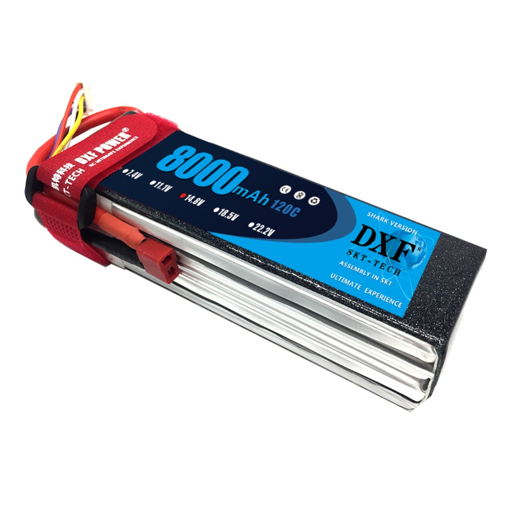 DXF Bateria AKKU 4S 14.8V 8000mah 120C Max 120C LiPo Battery TRX for RC Helicopter Airplane Car Boat