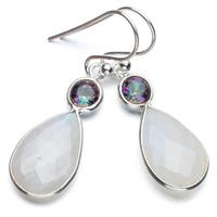 StarGems Tm Natural Mystical Topaz And Rainbow Moonstone Boho 925 Sterling Silver Drop Earrings 1 1