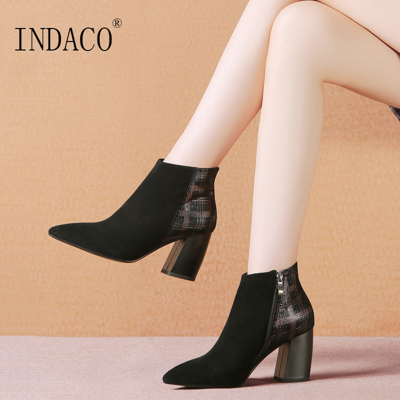 Women Leather Suede Boots Martin Boots High Heel Fashion Chelsea Boots 7.5cm Botas Ante краска для дисков ante off