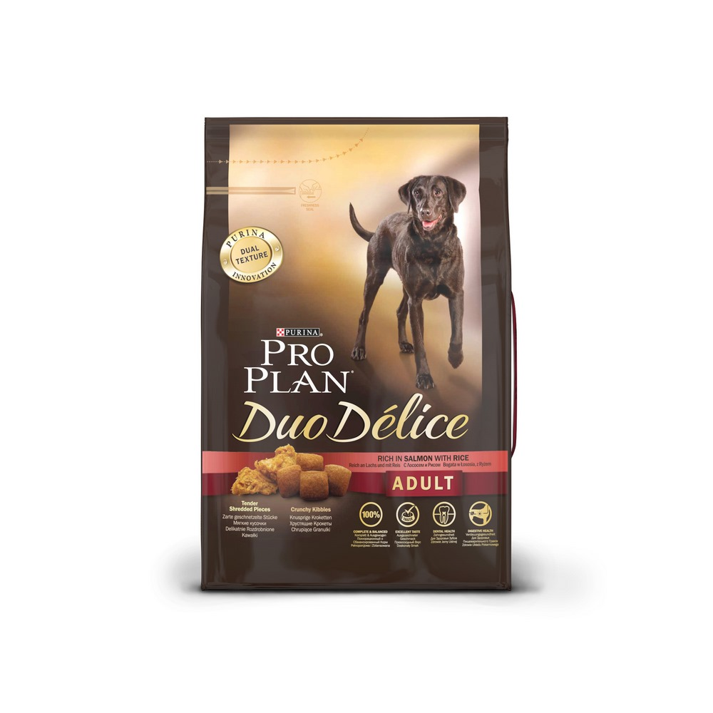 Dog Dry Food Pro Plan Duo Delice Medium & Large for adult dogs of medium and large breeds, Salmon, 2,5 kg. dog dry food pro plan medium adult for adult dogs of medium breeds chicken 1 5 kg