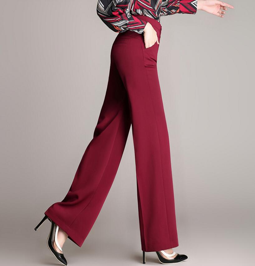 Spring Women's Fashion OL Bell Bottom High Waist Wide Leg Pants Work wear Wide Leg Pants plus size s1718