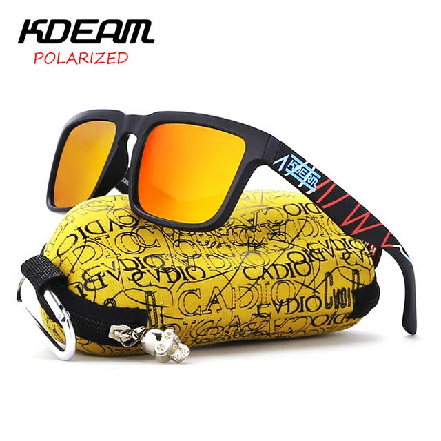 KDEAM Heart Beat Design Super New Sunglasses Square Men Sun Glasses Women Red HD lens Polarized UV400 With Hard Case KD901P-C23