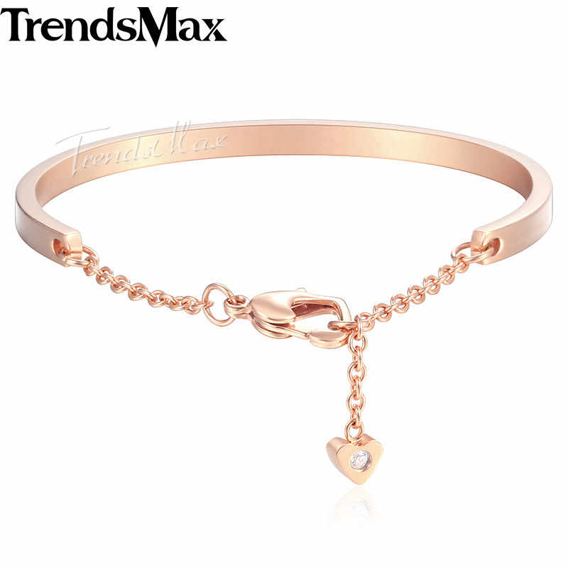 Women's Bracelets Heart Charm Bangle Silver Rose Gold Stainless Steel Bracelet For Woman Jewelry Gifts Dropshipping 4mm KKGM01