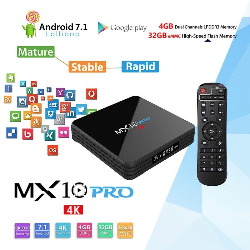 MX10 Pro 4G32G Smart TV Box Android 8.1 TV Box RK3328 4 k VP9 H.265 HDR10 Miracast WIFI USB 3.0 smart Set Top Box PK H96 Pro