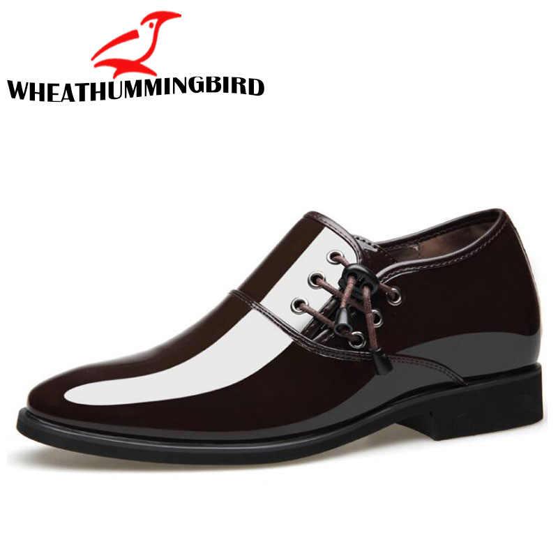 Новинка 2019 года; мужские туфли на шнуровке; мужские туфли-оксфорды, увеличивающие рост; черные туфли; дышащие Формальные Свадебные кожаные туфли с острым носком; LE-56