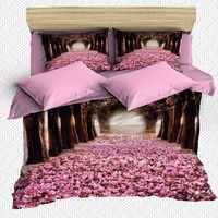 Else 6 Piece Pink Forest Trees Leaves Love Way Road 3D Print Cotton Satin Double Duvet Cover Bedding Set Pillow Case Bed Sheet|Duvet Cover|Home & Garden -