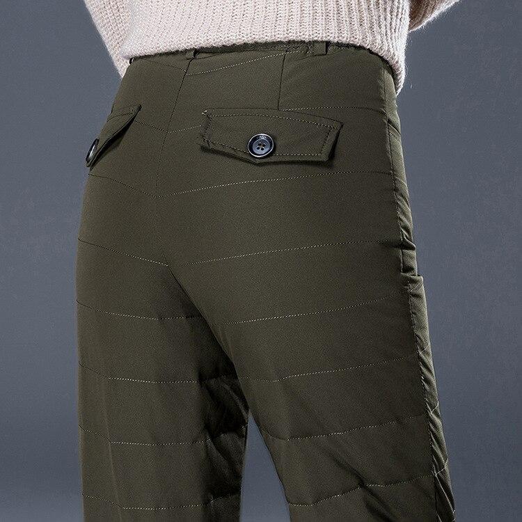 Tobillo Ancho Moda Pato Abajo gray Green 90 Caliente Sexy 359 Pt Alta Cara Doble Pantalón army Pantalones Mujeres De longitud Black Invierno Cintura qOAYZA