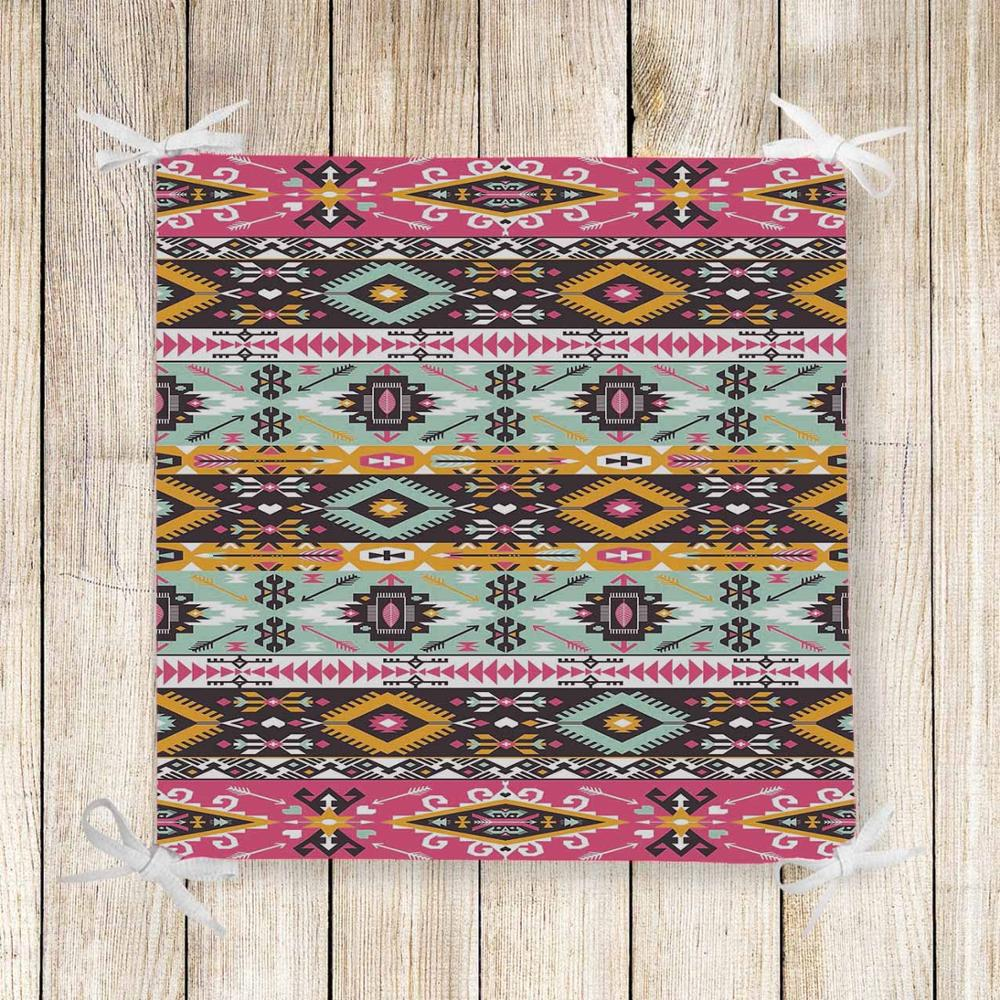 Else Pink Blue Aztec Ethnic Geometric 3d Print Chair Pad Seat Cushion Soft Memory Foam Full Lenght Ties Non Slip Washable Zipper