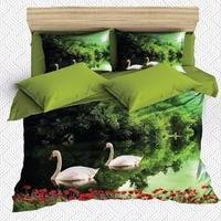 Else 6 Piece Green Lake White Swans Red Poppy Flower 3D Print Cotton Satin Double Duvet Cover Bedding Set Pillow Case Bed Sheet