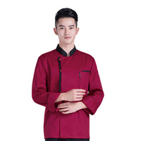 Chef Coat Long Sleeve Tops Food Service Uniforms Chef Jackets Red Black White Overalls Man Woman