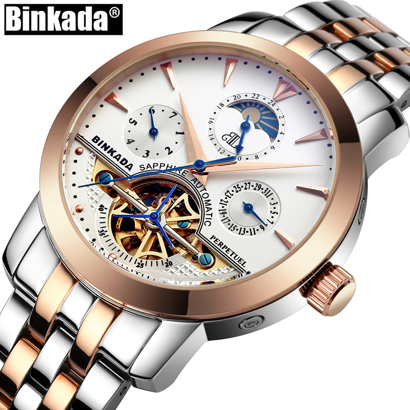 Tourbillon Mechanical Watches Casual Self Wind Full Steel Top Luxury Brand BINKADA Skeleton Business Mens Automatic Watch