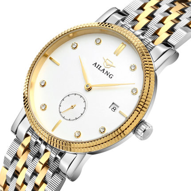 AILANG Original luxury watch brand men's mechanical automatic watches fashion men's gold stainless steel strap watch wrist watch nib rotary encoder e6b2 cwz6c 5 24vdc 800p r
