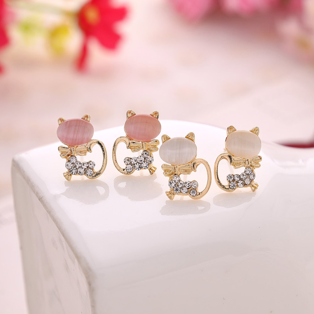 2017 New Hot Fashion Fine Jewelry Gold Color Super Cute Sweet Fresh Opal Rhinestone Kitt ...