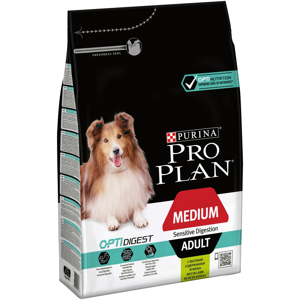 Dog Dry Food Pro Plan Medium Adult Sensitive Digestion for adult dogs of medium breeds, Lamb, 3 kg dog food dog chow adult sensitive for adult dogs of all breeds with sensitive digestion salmon 2 5 kg