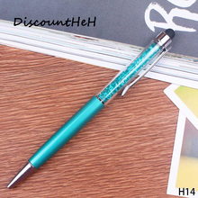 1 Pcs 2017 new Creative Crystal Pen Ballpoint Pens Stationery Ballpen Stylus Pen Touch Pen 12 Colors Oily Black Refill(China)