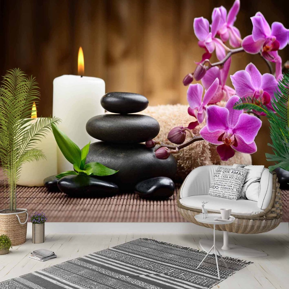 Else Purple Orchids Flowers Spa Stone Candle 3d Photo Cleanable Fabric Mural Home Decor Living Room Bedroom Background Wallpaper