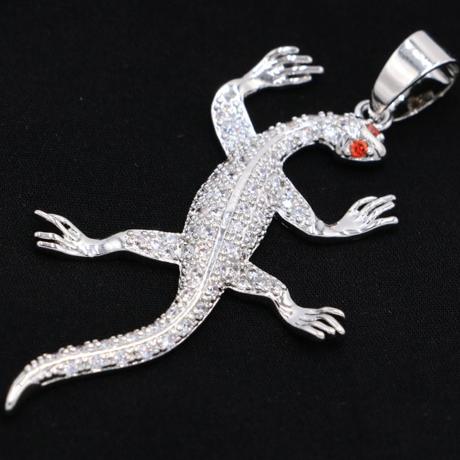 2018 New Designed Special Lizard White Cubic Zirconia Garnet Valentine's Day Present 925 Silver Pendant 52x27mm