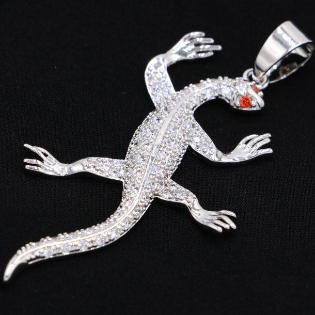 2018 New Designed Special Lizard White Cubic Zirconia Garnet Valentine's Day Present 925 Silver Pendant 52x27mm