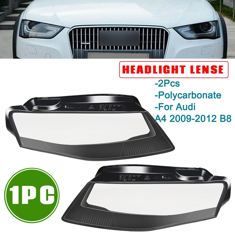 Autoleader Hot 1Pair Car Left Side/Right Side Front Kit Cover Len Headlight Headlamp Lamp Shell Car Styling For Audi A4 09-12 B8 все цены